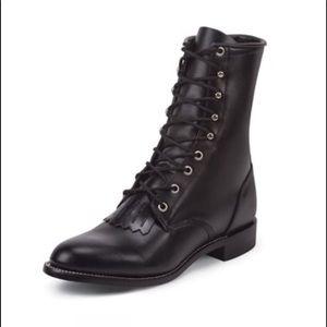 Justin Hiram Roper Black Leather Boots 7B